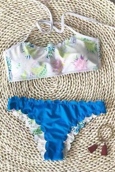 A dream vacation deserves the equally dreamy swimsuit.Product Code   Details  With padding bra Tie at back Pineapple printing Scalloped hem  Reversible bo 8d08f5084f558
