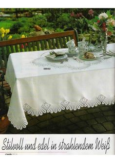"Photo from album ""Burda special 1996 Spitzenhäkeln(кружева)"" on Yandex. Filet Crochet, Crochet Borders, Crochet Tablecloth, Lace Making, Table Covers, Table Linens, Views Album, Handicraft, Embroidery"