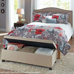 Better Homes & Gardens Faux Leather Storage Ottoman Multiple Colors - Walmart Storage Ideas - Ideas of Walmart Storage Ideas - Better Homes & Gardens Faux Leather Storage Ottoman Multiple Colors Red Red Ottoman, Leather Ottoman, Diy Storage Ottoman, Linen Storage, Blanket Storage, Extra Storage, Sitting Bench, French Country Bedrooms, Guest Bedrooms