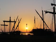 The Nina and The PInta docked at Bishop Park in Wyandotte, MI. Sunrise.
