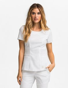 The Pintuck Top in White is a contemporary addition to women& medical scrub outfits. Shop Jaanuu for scrubs, lab coats and other medical apparel. Lab Coats For Men, White Scrubs, Scrubs Outfit, Medical Uniforms, Womens Scrubs, Medical Scrubs, Dental Scrubs, Nursing Clothes, Diy Clothes