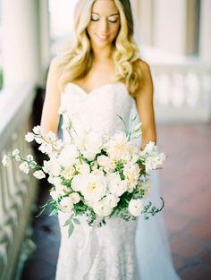 all white bouquet with mixed florals #bouquet #bride #weddingchicks http://www.weddingchicks.com/2014/01/24/teen-spirit-wedding