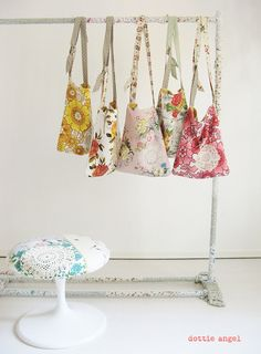 bark cloth & doily bags by dottie angel