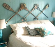 Oar Paddle Headboard Wall Art Hook Rack Expandable Accordian Style Twin Double Queen King Size Beach House Style Coastal Nautical by Castaw Nautical Headboard, Headboard Decor, Bedroom Decor, Beach Headboard, Diy Headboards, Decoration Theme Marin, Tropical Home Decor, Lake Decor, Remo