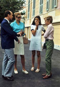 Princess Grace, Princess Caroline and Prince Albert of Monaco