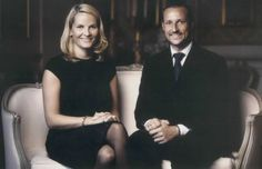 Princess Mette-Marit and Prince Haakon, early on in their marriage before they had kids together.