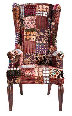 Patchwork Velvet Wing chair bruin - Kare Design