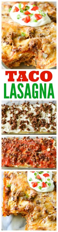 Taco Lasagna - Layers of lasagna noodles, salsa, taco meat, and cheese. Comfort food at its best!(Recipes To Try) Mexican Food Recipes, Beef Recipes, Dinner Recipes, Cooking Recipes, Recipies, Lasagna Recipes, Carrot Recipes, Lentil Recipes, Cabbage Recipes