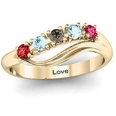 Five Stone Wave Family Ring #jewlr