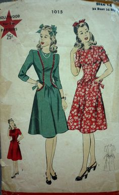 1940 Vintage Hollywood Sewing Pattern 1015 Dress Princess Seam Bodice SZ 14 | eBay