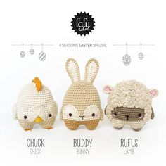 lalylala EASTER crochet pattern (printable PDF-file / 14 pages)   • chick (chicken, rooster) CHUCK • bunny (rabbit) BUDDY • lamb (sheep) RUFUS   . . . . . . . . . . . . . . . . . . . . . . . . . . . . . . . . . . . . . . . .  THE STORY  « As soon as that strange creature skipped from our garden, we admired the colorful eggs that it had left us in a small nest underneath the Hazel bush.  These eggs looked so weird that we soon started to discuss, what would probably hatch out of them. Dir...