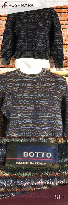 Botto Mens Size S Crew Neck Wool blend Sweater Barely Worn. Botto Mens Size Small Sweater. Long Sleeves.  Crewneck.  Navy, blue, green maroon, gray, bronze,  pattern. Missing size made of.  Feels like wool blend. Chest approximately 44 inches and length approximately 22 inches.   Measurements are approximate and are given as a courtesy. Botto Sweaters Crewneck