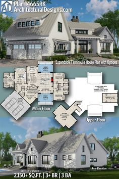 Architectural Designs Modern Farmhouse Plan 14665RK has 3+ beds | 3 baths | 2,150+ Sq.Ft. | Ready when you are. Where do YOU want to build? #14665RK #adhouseplans #architecturaldesigns #houseplan #architecture #newhome #newconstruction #newhouse #homedesign #dreamhouse #homeplan #architecture #architect #houses #homedecor #kitchen #greatroom #kitchendesign #Modernfarmhouse #Farmhousestyle