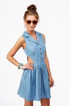 Chambray Cutout Dress