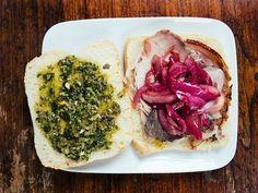 Porchetta Sandwiches with Marinated Onions and Salsa Verde