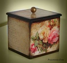 The world's catalog of creative ideas Decoupage Box, Decoupage Vintage, Painted Boxes, Wooden Boxes, Altered Boxes, Altered Art, Deco Champetre, Pretty Box, Home And Deco