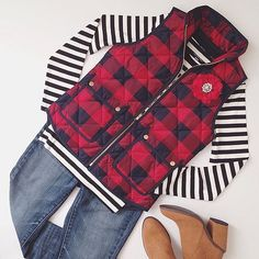 Striped Long Sleeve Shirt, Buffalo Plaid Navy and Red Puffer Vest
