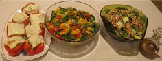 Veggie stuffed peppers, quinoa rotelle Mediterranean, cucumber, spinach, and walnut salad, all recipes in Vila SpiderHawk's upcoming cookbooks.