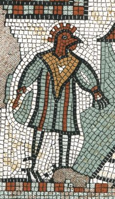 Roman Mosaic. Cock-Headed Man. Brading, Isle of Wight, England.
