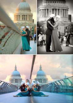 Such a gorgeous backdrop AND couple in this Downtown London Engagement Shoot! Photos by Chris + Lynn via JunebugWeddings.com