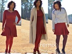3 ways to rock the same dress this holiday season. Outfit ideas wearing marsala red dress #spon