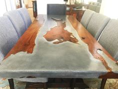 home accents pieces Concrete and Wood Table Concrete Table Top, Concrete Wood, Wood Table, Dining Table, Concrete Countertops, Polished Concrete, Beton Design, Couch Table, Table And Chair Sets