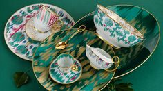 Dinner party essentials: Hermès's Voyage en Ikat collection