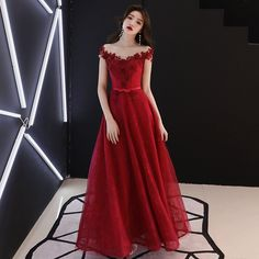 6d318952ac65da MISS36 - Wine Red Off The Shoulder A-Line Long Evening Dress 2019 Applique  Wedding