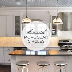http://mercurymosaics.com/tile_patterns/moroccan-circles/ We used three different shades of white tile in our Moroccan Circles pattern to create an illuminated ambiance for this bright kitchen! Simply radiant