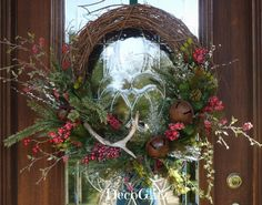 Grapevine Christmas Wreath with ANTLER and JINGLE by decoglitz