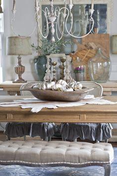 Elegant Fall Decor with a dough bowl on the dinning room table from Cedar Hill Farmhouse.