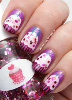 Adventures In Acetone: Happy Birthday, Caitlin! : Adventures In Acetone: Happy Birthday, Caitlin! Cute Nails, Pretty Nails, Hair And Nails, My Nails, Cupcake Nail Art, Food Nail Art, Birthday Nail Art, Crazy Nail Art, Fabulous Nails