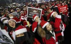 'Santa protest' against South Korea President Park Geun- hye