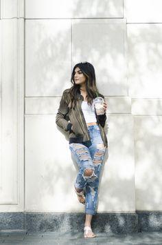 ModernDayShivalry  Ripped Denim: Shein Bomber: Zara Crop: Garage Clothing  Starbucks: Double Choco Chip Frapp