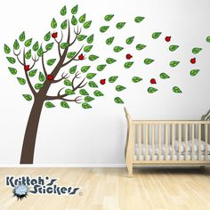 Tree with Blowing Leaves and Lady Bugs Vinyl Wall Decal (153 x 98 inches) K558