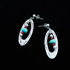 Hand Stamped Sterling Silver Earrings with Kingman Turquoise and Bamboo Coral Dangles by NativeAmericanBling on Etsy