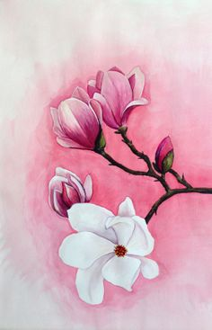 "Original Aquarell Malerei ""Magnolia"" Buy this and other original paintings on my easy store!"