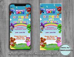 Birthday Invitations Kids, Baby Invitations, Online Invitations, Digital Invitations, Invites, Baby Birthday, 1st Birthday Parties, 1st Year Cake, Muppet Babies