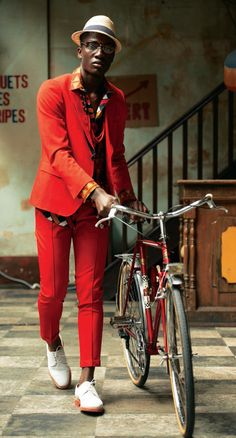 red suit red fashion, bike fashion, bicycl, african prints, suit, men fashion, fashion editorials, style fashion, bike style