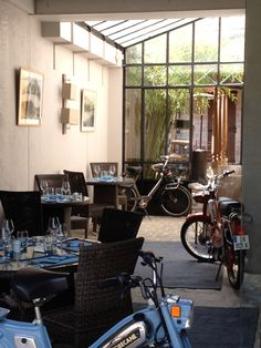 Meals on wheels? A restaurant in Barbizon, France.