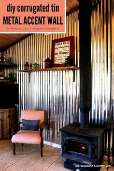 Love an industrial, rustic or even modern look? Then give corrugated metal decor a try! Check out all these ways to use corrugated metal in home decor. Tole Acier, Corrugated Tin, Tin Walls, Metal Panels, Interior Walls, Interior Design, Basement Remodeling, Bathroom Remodeling, Home Improvement