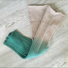 "Ombré Leg Warmers Tan and teal leg warmers, new and never worn. No tags. Very cozy to wear! Measure 20.5"" long and have lots of stretch to them. [Lowest price] Accessories Hosiery & Socks"
