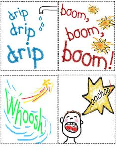 I use these cards to teach kids what onomatopoeia words are