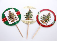 Christmas appetizer Picks, Cupcake toppers Set of 24 For $3.99 on Etsy