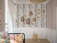 Four stylish kids room are fashionable and cozy. Mix and match patterns, creative wall treatments and custom furniture make for the perfect places to grow up. Kids Wall Decor, Metal Wall Decor, Room Decor, Girl Bedroom Designs, Girls Bedroom, Design Bedroom, Tree Interior, Interior Design, Birch Tree Wallpaper