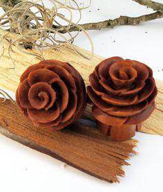 Body Accentz Earrings Rings Organic Wood Full Bloom Rosebud Handcarved Double Flared Plug Sold as a Pair 00 Gauge