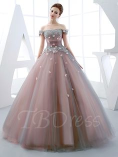 Princess Off The Shoulder Applique Lace Up Back Quinceanera Ball Gown 12453320 - Quinceanera Dresses - Dresswe. Cheap Quinceanera Dresses, Unique Prom Dresses, Elegant Dresses, Pretty Dresses, Awesome Dresses, Wedding Dresses, Ball Gown Dresses, 15 Dresses, Evening Dresses