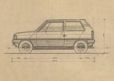 Giorgetto Giugiaro 42 Maserati Quattroporte, Panda Sketch, Car Sketch, Seat Marbella, Fiat Abarth, Fiat 850, Technical Illustration, Technical Drawings, Prototyp