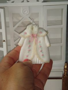 Girls dollhouse coat on hang. 1:12 dollhouses miniature coat for girls.