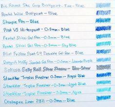 A Penchant for Paper: Blue Pen Comparison